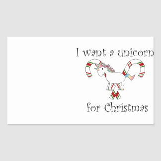 I want a unicorn for christmas candy canes rectangular sticker