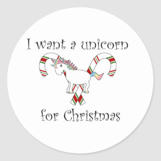 I want a unicorn for christmas candy canes classic round sticker