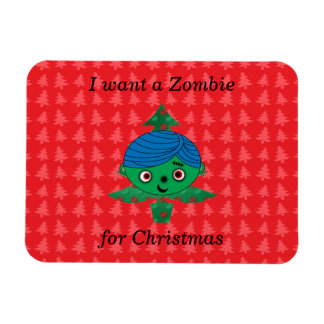 I want a zombie for christmas rectangular photo magnet