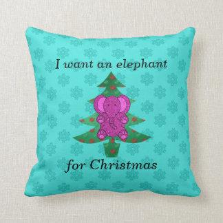 I want an elephant for christmas purple glitter throw pillow