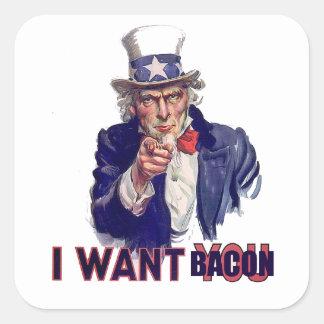I want bacon square sticker