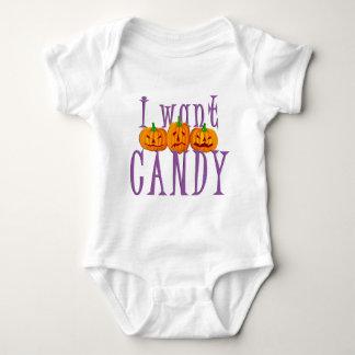 I Want Candy Jack O'Lantern Halloween Baby Bodysuit