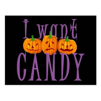 I Want Candy Jack O'Lantern Halloween Post Card