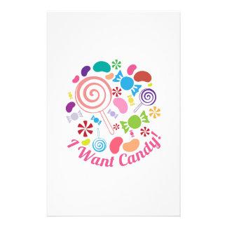 I Want Candy Customized Stationery