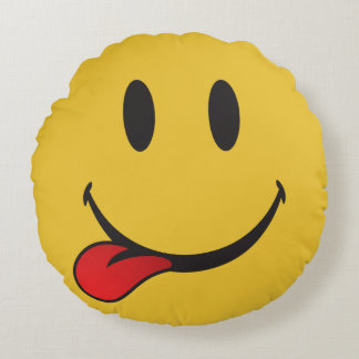 i want food emoji round pillow