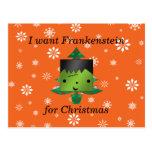 I want frankenstein for christmas postcard