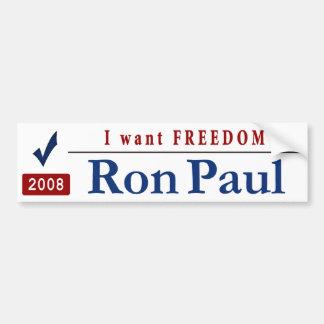 I Want FREEDOM Car Bumper Sticker