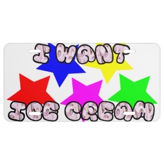 I WANT ICE CREAM LICENSE PLATE