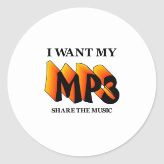 I Want My MP3 Classic Round Sticker