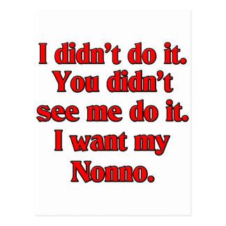 I want my nonno (Italian Grandfather). Postcard