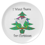 I want peace for Christmas Party Plates