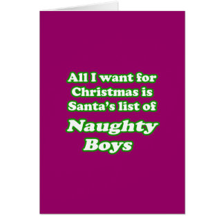I want Santa's list of naughty boys Greeting Card