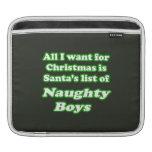 I WANT SANTA'S LIST OF NAUGHTY BOYS SLEEVE FOR iPads