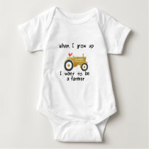 I want to be a farmer, yellow tractor & rooster baby bodysuit
