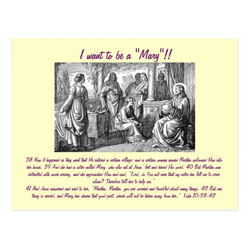 """I want to be a """"Mary""""!! post card"""