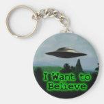 I want to believe basic round button keychain