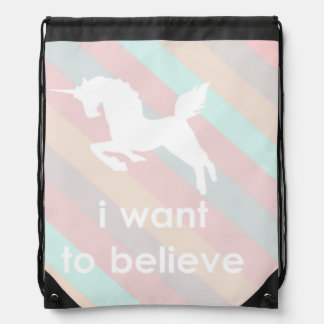 i want to believe drawstring backpacks
