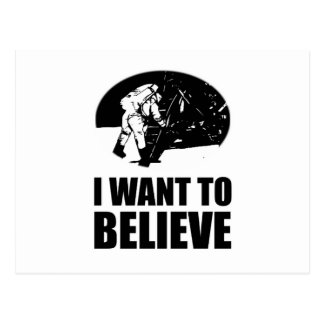 I want to believe - moon landing postcard