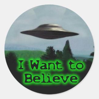 I want to believe round stickers
