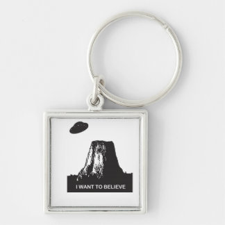 I WANT TO BELIEVE Silver-Colored SQUARE KEYCHAIN