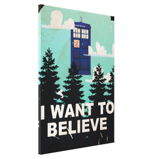 I Want to Believe Vintage Police Box Canvas Print