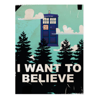 I Want to Believe Vintage Police Box Postcard