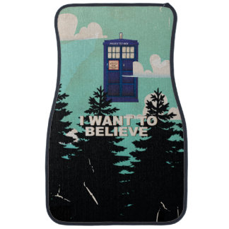 I Want to Believe Vintage Police Box Car Mat