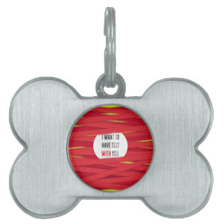 I want to have text with you laced background pet ID tag