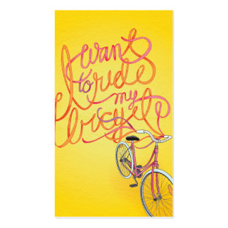 I want to ride my bicycle - 2 sided business card