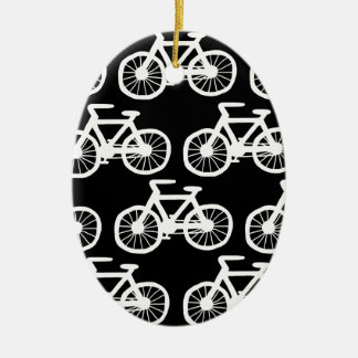 I Want to Ride my Bicycle Double-Sided Oval Ceramic Christmas Ornament