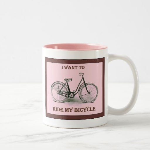 I Want To Ride My Bicycle ~ Vintage Bicycle Poster Coffee Mugs