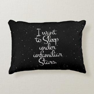 """I Want to Sleep Under Unfamiliar Stars"" Night Sky Decorative Pillow"