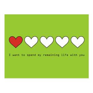 I want to spend my remaining life with you postcards