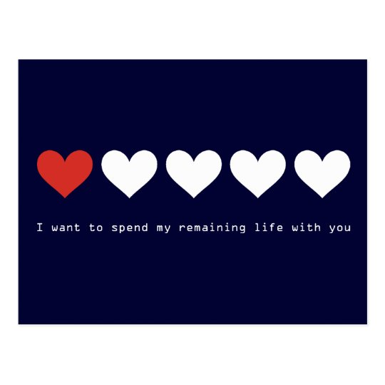 I want to spend my remaining life with you postcard