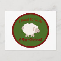 I Want to Wish Ewe A Merry Christmas Holiday Postcard