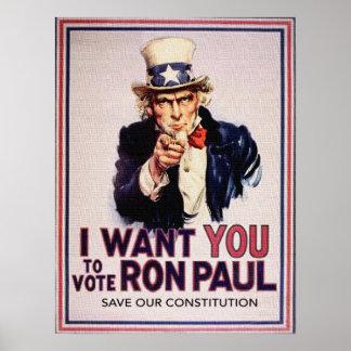 I Wan't usted para votar la reserva de RON PAUL nu Poster