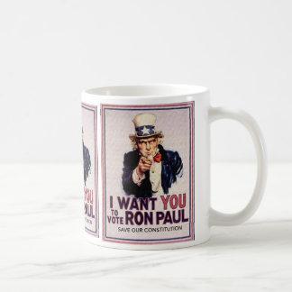 I Wan't usted para votar la reserva de RON PAUL Taza