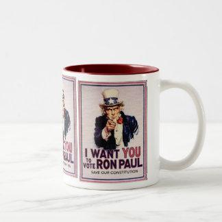 I Wan't usted para votar la reserva de RON PAUL Taza De Dos Tonos