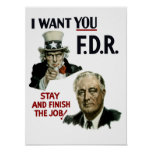 I Want You FDR -- Uncle Sam WWII Poster