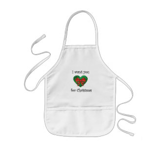 I want you for christmas heart red bow kids' apron