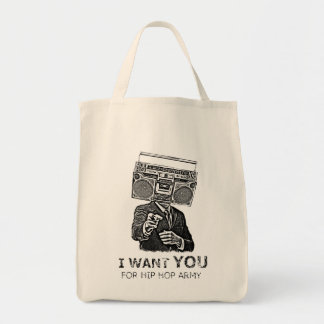 I want you for hip-hop army grocery tote bag