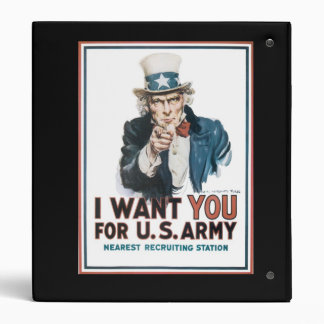 I Want YOU for the US Army Uncle Sam War PIc Binders