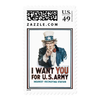I Want YOU for the US Army Uncle Sam War PIc Postage Stamp
