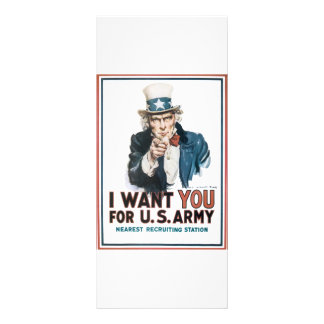 I Want YOU for the US Army Uncle Sam War PIc Rack Card Design