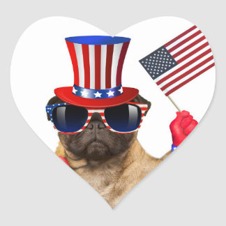 I want you ,pug ,uncle sam dog, heart sticker