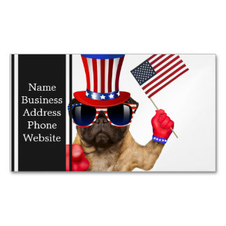 I want you ,pug ,uncle sam dog, magnetic business card