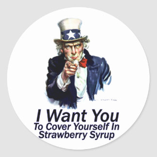 I Want You:  To Cover Yourself Classic Round Sticker