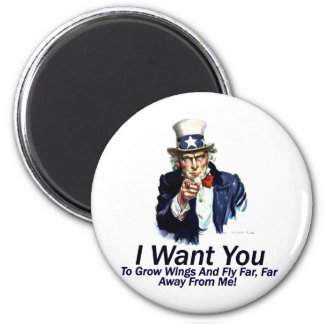 I Want You:  To Grow Wings 2 Inch Round Magnet