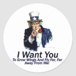 I Want You:  To Grow Wings Classic Round Sticker