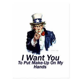 I Want You:  To Put Make-Up Postcard